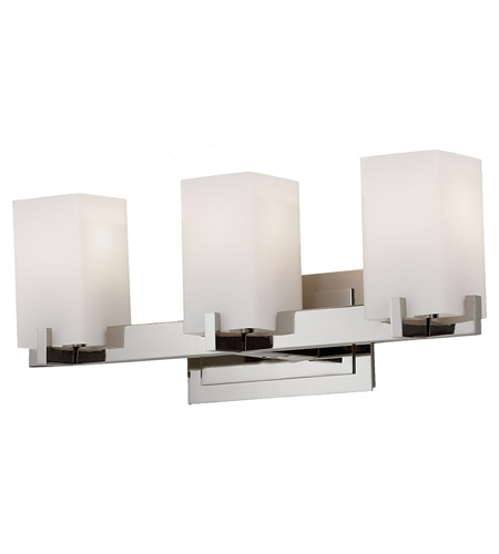 Feiss VS18403-PN Riva 3 Light 22 inch Polished Nickel Vanity Strip Wall Light in Opal Etched Glass, 21.5 photo