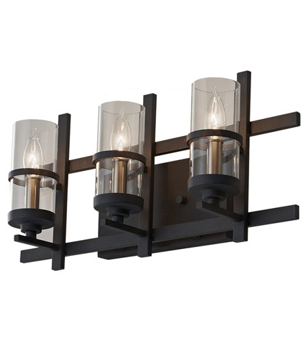 Feiss Ethan 3 Light Vanity Strip in Antique Forged Iron and Brushed Steel VS20003-AF/BS photo