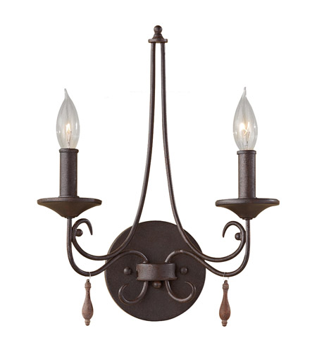 Feiss WB1590RI Aliya 2 Light 12 inch Rustic Iron Wall Sconce Wall Light photo