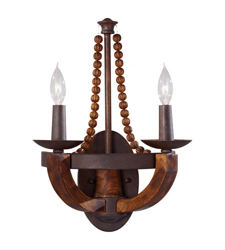 Feiss WB1591RI/BWD Adan 2 Light 12 inch Rustic Iron and Burnished Wood Wall Sconce Wall Light photo