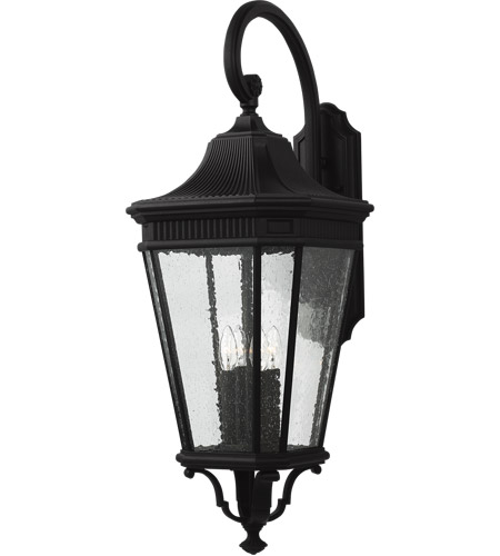 Feiss OL5426BK Cotswold Lane 36 inch Black Outdoor Wall Lantern in Clear Seedy Glass photo