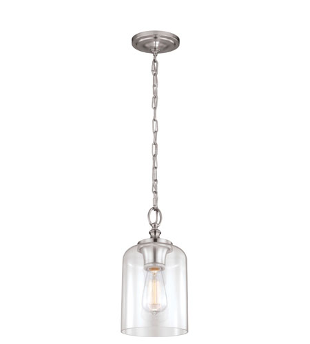 Feiss P1310BS Hounslow 1 Light 7 inch Brushed Steel Pendant Ceiling Light Clear Glass alternative photo thumbnail