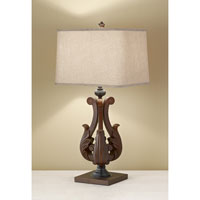 Feiss Fleuron 1 Light Table Lamp in Dark Aged Wood 10145DAW