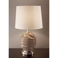 Feiss Softserve 1 Light Table Lamp in Toffee and Brushed Steel 10188TF/BS