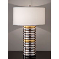 Feiss Signature 1 Light Table Lamp in Natural Brass and Brushed Steel 10214NB/BS