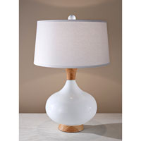 Feiss Signature 1 Light Table Lamp in Honey Teak with White Glass 10228HTWG