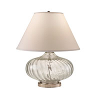 Feiss Signature 1 Light Table Lamp in Brushed Steel and Optical Ribbed Clear Glass 10256BS/ORG