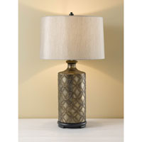 Feiss Hand Painted Porcelain 1 Light Table Lamp in Burnished Silver with Black 9906BUSB