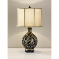 Feiss Hand Painted Porcelain 1 Light Table Lamp in Glossy Black and Golden Floral Pattern 9915GB/GFP