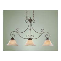 Feiss Tuscan Villa 3 Light Linear Chandelier in Corinthian Bronze F1836/3CB