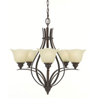 Feiss Morningside 5 Light Chandelier in Grecian Bronze F2055/5GBZ