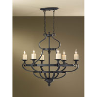 Feiss Kings Table 6 Light Chandelier in Antique Forged Iron F2517/6AF