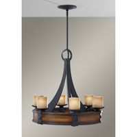 Madera 6 Light 28 inch Antique Forged Iron and Aged Walnut Chandelier Ceiling Light