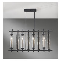 Feiss F2630/8AF/BS Ethan 8 Light 10 inch Antique Forged Iron and Brushed Steel Linear Chandelier Ceiling Light