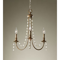 Feiss Aura 3 Light Mini Chandelier in Rustic Silver F2713/3RUS