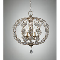 Feiss Leila 3 Light Chandelier in Burnished Silver F2741/3BUS