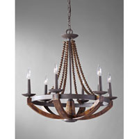 Feiss Adan 6 Light Chandelier in Rustic Iron and Burnished Wood F2749/6RI/BWD