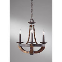 Feiss Adan 3 Light Mini Chandelier in Rustic Iron and Burnished Wood F2750/3RI/BWD