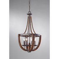 Feiss Adan 4 Light Mini Chandelier in Rustic Iron and Burnished Wood F2753/4RI/BWD