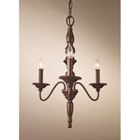 Feiss Yorktown Heights 3 Light Mini Chandelier in Prescott Bronze F2787/3PRBZ