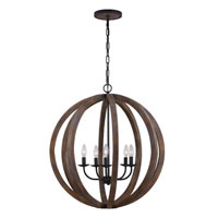 Feiss Allier 5 Light Chandelier Large Pendant in Weather Oak Wood and Antique Forged Iron F2936/5WOW/AF