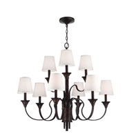 Feiss Arbor Creek 9 Light Chandelier in Arbor Bronze and Weathered Brass F2943/9AZ/WBR