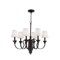 Feiss Arbor Creek 6 Light Chandelier in Arbor Bronze and Weathered Brass F2944/6AZ/WBR