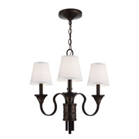 Feiss Arbor Creek 3 Light Chandelier in Arbor Bronze and Weathered Brass F2945/3AZ/WBR