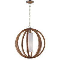 Feiss Allier 1 Light Chandelier in Light Wood and Brushed Steel F2952/1LW/BS