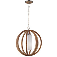 Feiss Allier 1 Light Chandelier in Light Wood and Brushed Steel F2953/1LW/BS