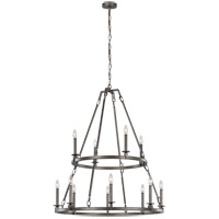 Feiss F3215/12SMS Landen 34 inch Smith Steel Chandelier Ceiling Light