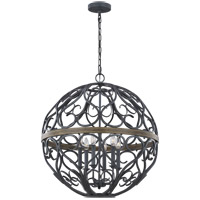 Feiss F3219/6WZC/WOW Avila 26 inch Weathered Zinc and Weathered Oak Chandelier Ceiling Light
