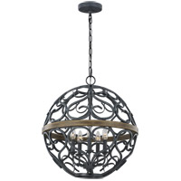 Feiss F3220/5WZC/WOW Avila 21 inch Weathered Zinc and Weathered Oak Chandelier Ceiling Light