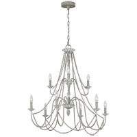 Feiss F3241/9WGR Maryville 32 inch Washed Grey Chandelier Ceiling Light