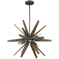 Feiss F3257/6DWZ/WOW Thorne 26 inch Dark Weathered Zinc and Weathered Oak Chandelier Ceiling Light in Dark Weathered Zinc with Weathered Oak