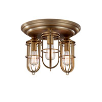 Feiss Urban Renewal 3 Light Flush Mount in Dark Antique Brass FM378DAB