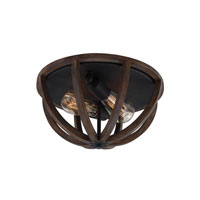 Feiss Allier 2 Light Flushmount in Weather Oak Wood and Antique Forged Iron FM400WOW/AF