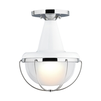 Feiss Livingston 1 Light Flushmount in High Gloss White and Polished Nickel FM402HGW/PN