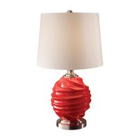 Feiss Softserve 1 Light Table Lamp in Strawberry and Brushed Steel 10188STB/BS