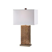 Feiss Signature 1 Light Table Lamp in Aged Copper with Crackle 10282AC/CK