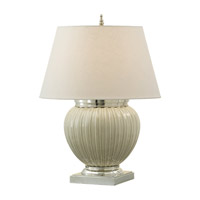Feiss Demure 1 Light Table Lamp in Gray Owl Crackle and Polished Nickel 9682GOC/PN