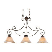 Tuscan Villa 3 Light 36 inch Corinthian Bronze Linear Chandelier Ceiling Light