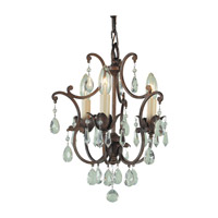 Maison De Ville 3 Light 11 inch British Bronze Mini Chandelier Ceiling Light