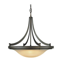 Pub 4 Light 25 inch Oil Rubbed Bronze Pendant Ceiling Light in Standard, Frost Amber Glass