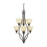 Feiss F2051/3+3GBZ Morningside 6 Light 24 inch Grecian Bronze Chandelier Ceiling Light