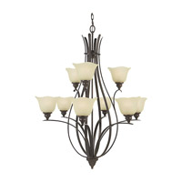 Feiss F2052/6+3GBZ Morningside 9 Light 34 inch Grecian Bronze Chandelier Ceiling Light in Cream Snow Glass