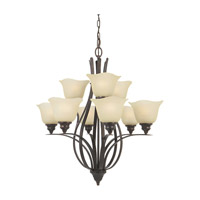 Feiss F2053/6+3GBZ Morningside 9 Light 29 inch Grecian Bronze Chandelier Ceiling Light in Cream Snow Glass