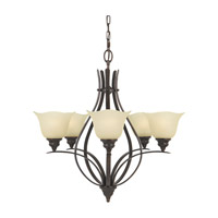 Morningside 5 Light 26 inch Grecian Bronze Chandelier Ceiling Light in Cream Snow Glass