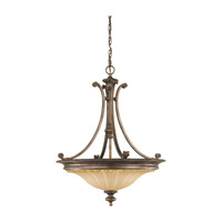 Stirling Castle 3 Light 22 inch British Bronze Pendant Ceiling Light in Standard, Antique Excavation Glass