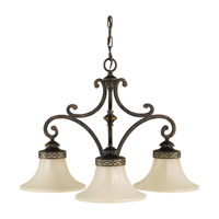 Drawing Room 3 Light 25 inch Walnut Chandelier Ceiling Light